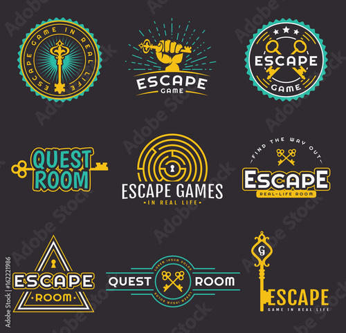 Quest room and escape game logo set. Canvas Print