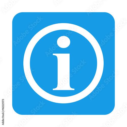 Fotografía  Icono plano i en circulo en cuadrado azul