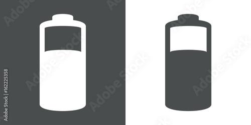 Icono plano pila electrica gris y blanco Fototapet