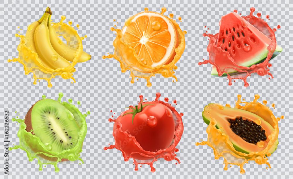 Orange, kiwi fruit, banana, tomato, watermelon, papaya juice. Fresh fruits and splashes, 3d vector icon set