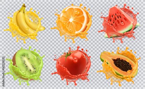 Sok pomarańczowy, owoc kiwi, banan, pomidor, arbuz, sok z papai. Świeże owoce i plamy, 3d wektor zestaw ikon