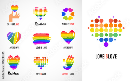 Valokuva  Gay, LGBT collection of symbols, icons and logos with rainbow, heart hands