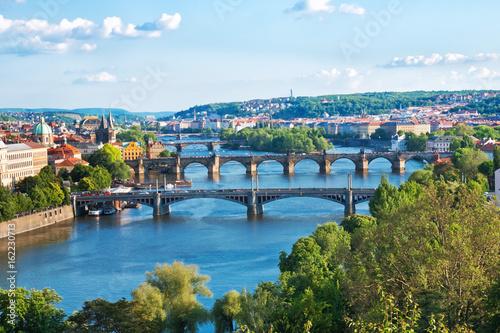 Poster Praag Prague Bridges in the Summer. Czech Republic.