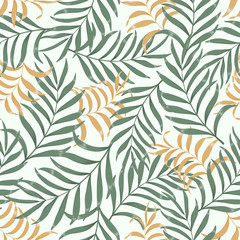 Fototapeta Tropical background with palm leaves. Seamless floral pattern