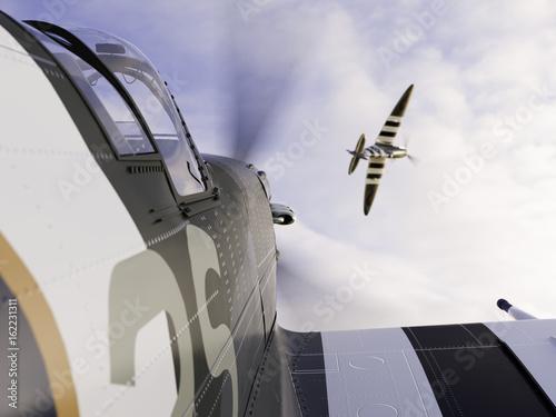Stampa su Tela Spitfire Dog Fight - Hunting