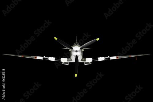 Photo  Spitfire head on on Black