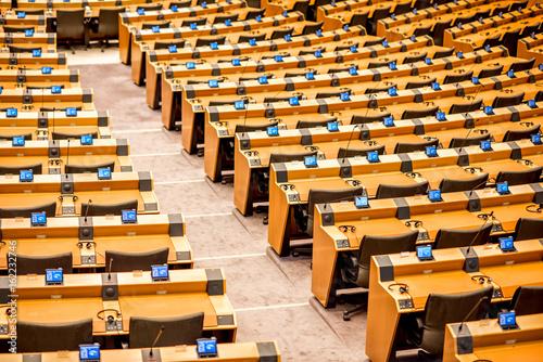 Foto  Interior of the meeting room of the European parliament in Brussels, Belgium
