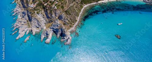 Foto auf AluDibond Blau Jeans Capo Vaticano, Calabria - Italy. Amazing panoramic overhead aerial view of coastline on a sunny day