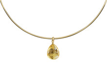 Golden Necklace With Gemstone Isolated White