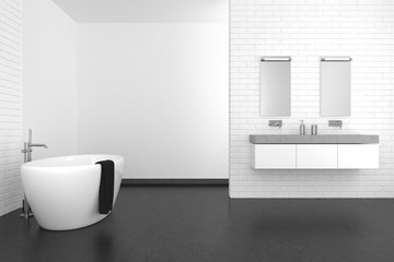 Naklejka na ściany i meble modern bathroom with white brick wall and dark floor