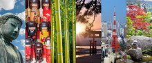 Japan, Panoramic Photo Collage, Japanese Symbols, Japan Travel And Tourism Concept
