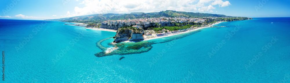 Fototapeta Tropea, Calabria. Panoramic aerail view of Santa Maria dell'Isola Monastery and wonderful coastline