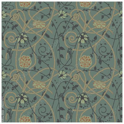 medieval floral pattern on a dark background Fototapet