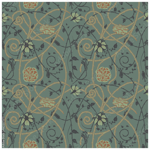 Fényképezés medieval floral pattern on a dark background