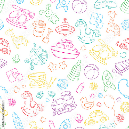 Seamless Background Texture Backdrop Pattern Wallpaper With Children Cartoon Doodle Toys Educational Games For Kids Vector Illustration Baby Shower Icons Collection Set Buy This Stock Vector And Explore Similar Vectors At