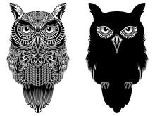 Big Serious Owl Black Stencils