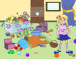 Illustration for children, cartoon. Clutter in the children's room. Uncollected toys, things. Little girl, baby in the room. Cleaning.