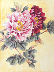 Panel Szklany Peonie Two peonies pink and red