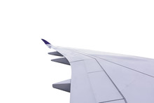 Airplane Wing Isolate On White Background With Clipping Path.