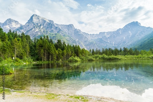 Alps mountains and lake in Almsee in Austria. Canvas Print