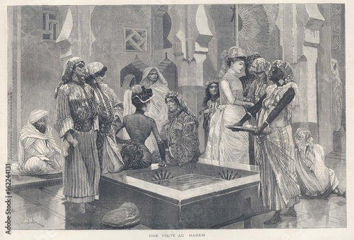 Canvastavla Ladies in a Harem - 1888. Date: 1888