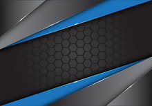 Abstract Blue Black Metallic On Dark Hexagon Mesh Design Modern Creative Background Vector Illustration.