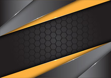 Abstract Yellow Black Metallic On Dark Hexagon Mesh Design Modern Creative Background Vector Illustration.
