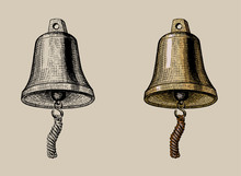 Ship Bell, Hand Ink Drawing, V...