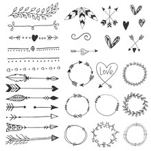 Arrows, Hearts, Ornament - Handdrawn Wedding Decor Elements In Boho Style. Vector Collection.