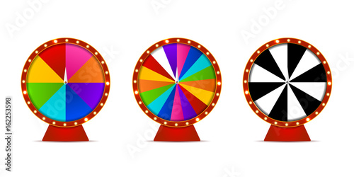 Fotografía  Vector set of isolated realistic fortune roulette wheels on the white background