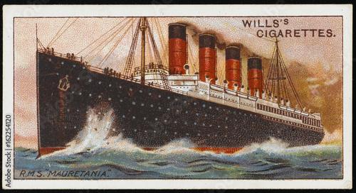 Photo  MAURETANIA cigarette card. Date: 1907