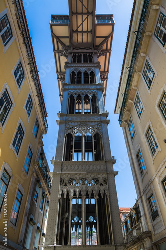 Photo  Santa Justa lift built by Raoul Mesnard in 1902 in Lisbon, Portugal