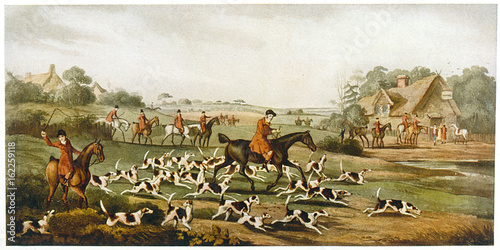 Poster Chasse Going to Cover - Hunting. Date: circa 1860