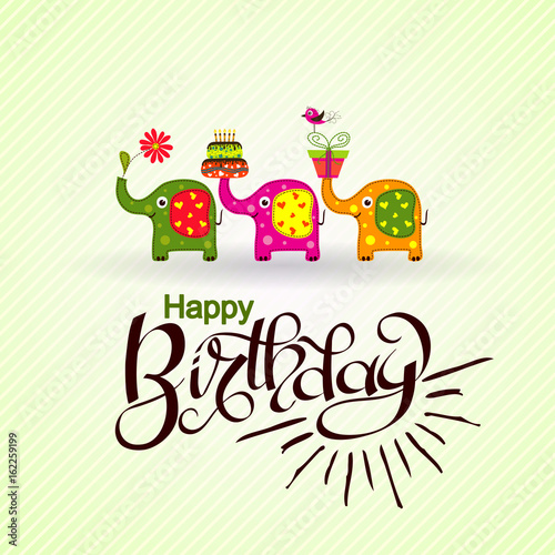 Template Birthday Greeting Card With Elephants And Text Vector