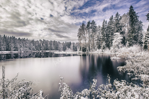 Spoed Foto op Canvas Grijze traf. Idyllic landscape with lake and forest in winter.
