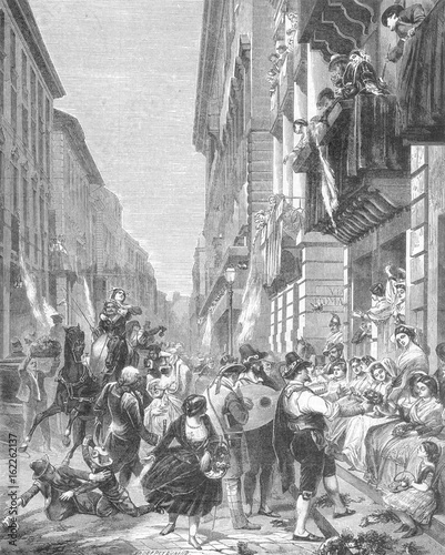 Photo  Carnival in a street in Rome  Italy. Date: 1860