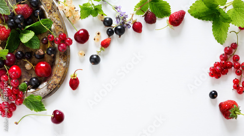 Foto auf AluDibond Fruchte sweet summer fresh juice fruit background; summer food