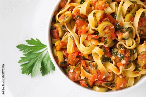 tagliatelle with puttanesca sauce Obraz na płótnie