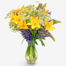 Bouquet Od Wild Flowers: Achillea Millefolium, Day Lily And Lupine In A Transparent Glass Vase Isolated On White Background