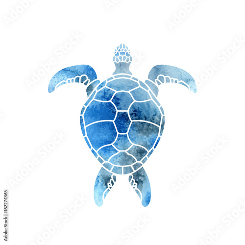 Cheloniidae. Turtle. Wildlife. Silhouette. Symbol, icon, logo. Vector illustration. Wall mural