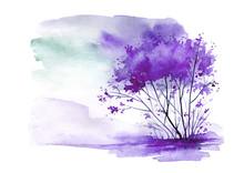 Watercolor Vintage Bush, A Tree In Purple, Lilac Color. Abstract Spots, Shore, Sky, Watercolor Landscape.