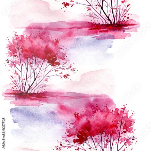akwarela-bezszwowe-wzor-tlo-z-rocznika-wzor-rozowy-krzew-drzewo-piekny-krajobraz-w-rozowym-liliowym-kolorze-na-bialym-tle