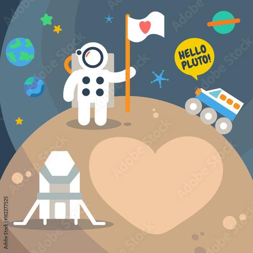 Photo  Pluto Planet space traveler, Flat Design Elements