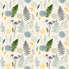 Naklejka Florystyczny Vector floral seamless pattern with wild meadow grasses, fern leaves and stylized flowers outlines .