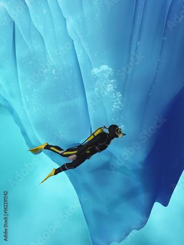 Diver swimming
