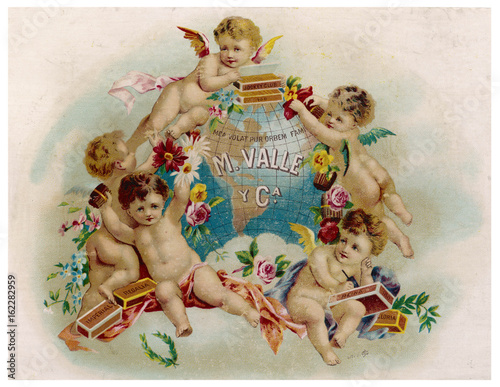 Cigar label  M Valle and Company. Date: circa 1885 Canvas Print