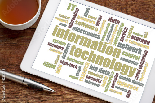 Fototapety, obrazy: information technology word cloud on tablet