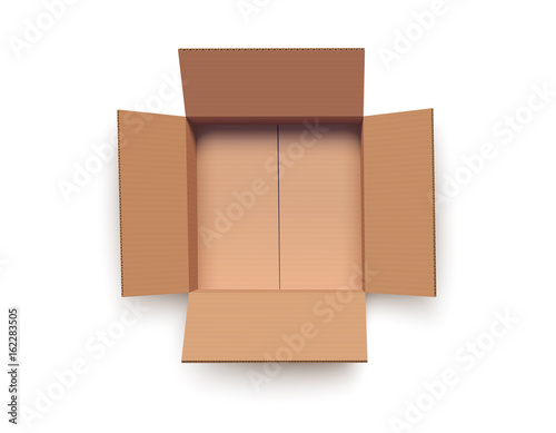 Empty open box isolated on white Canvas Print