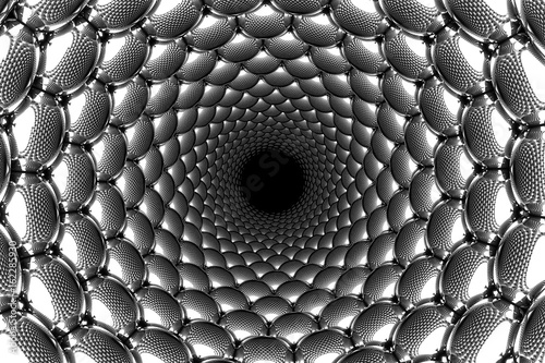 obraz PCV design element. 3D illustration. rendering. metal glossy balls reflections abstract black and white pattern
