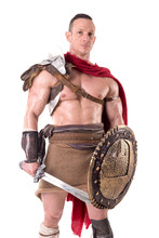 Gladiator Posing Isolated In W...